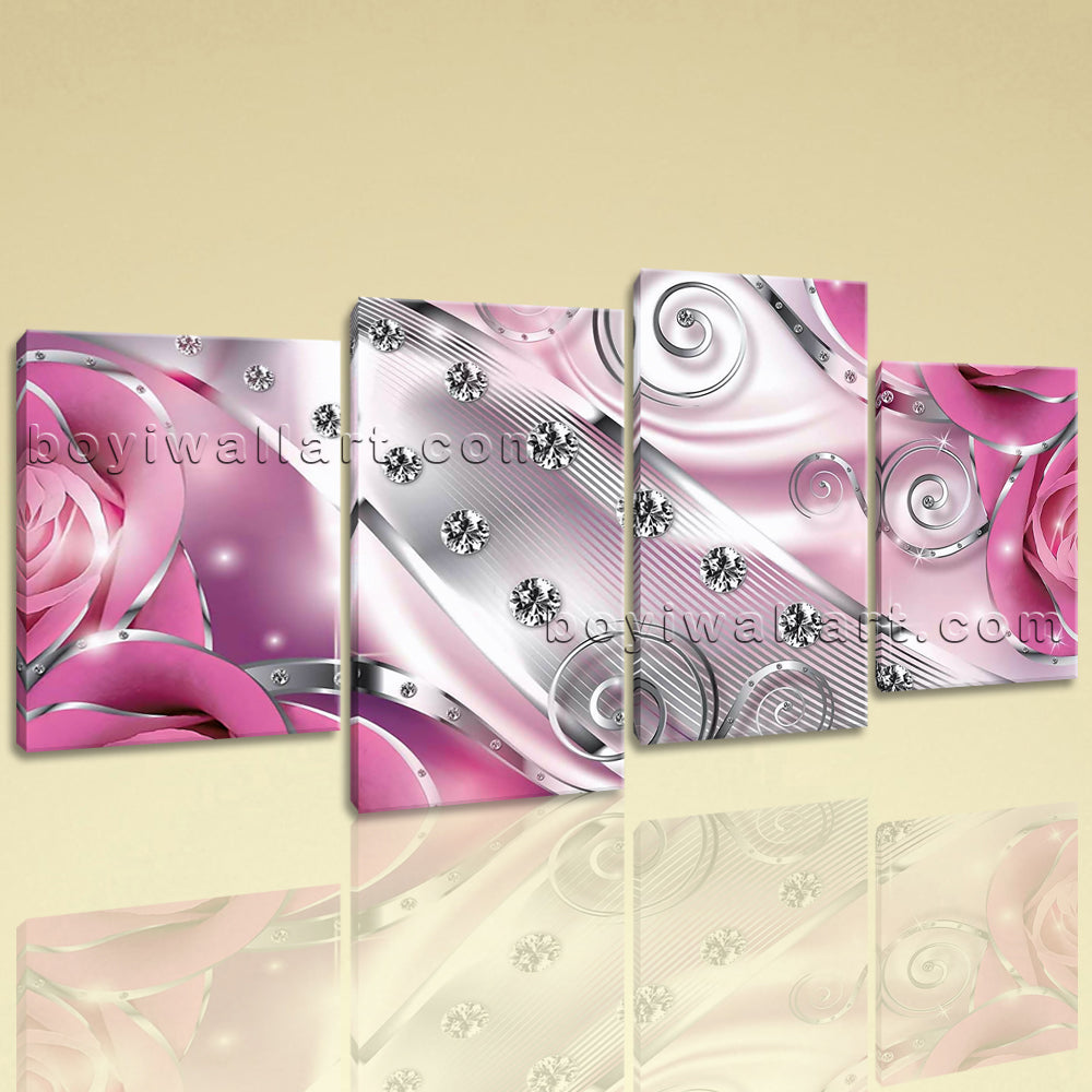 Large Flower Diamond Floral Picture Modern Home Decor 4 Panels Prints