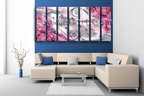 Extra Large Flower Diamond Floral Canvas Art Modern Living Room 7 Pieces Print