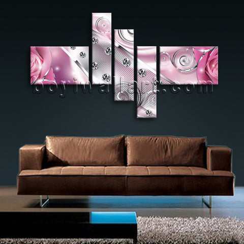 Huge Flower Diamond Floral Picture Modern Oil Painting 5 Panels Print