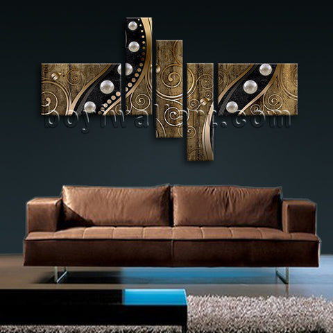 Huge Abstract Wall Art Modern Painting Living Room Five Pieces Prints