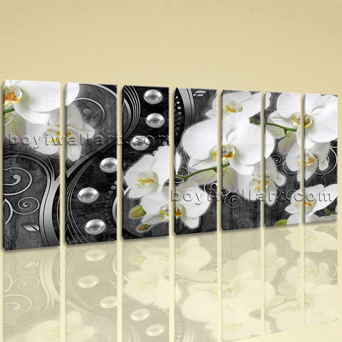Extra Large Orichid Flower Orchid Hd Print Modern Wall Decor 7 Pieces