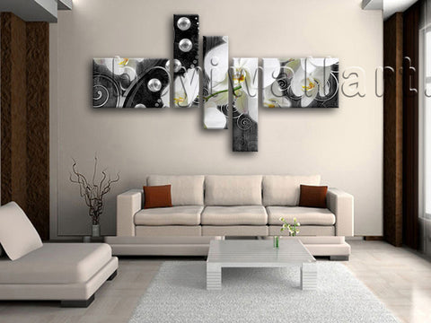 Huge Orichid Flower Orchid Canvas Art Modern Painting Pentaptych Pieces Print