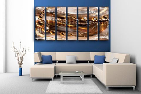 Extra Large Abstract Wall Art Canvas Modern Painting On Heptaptych Pieces Print