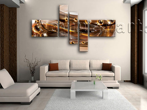 Huge Abstract Wall Art Picture Modern Painting Living Room 5 Panels Print