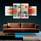 Large Abstract Wall Art Canvas Modern Oil Painting Dining Room Four Panels Print
