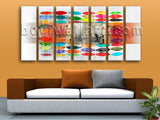 Extra Large Abstract Wall Art Modern Painting On Canvas Heptaptych Panels Print