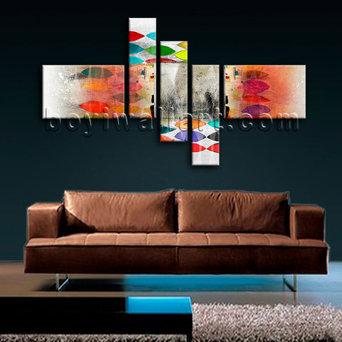 Huge Abstract Wall Art Picture Modern Painting On Canvas Pentaptych Pieces Print