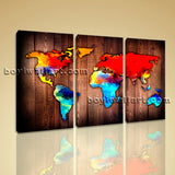 Large Grunge Rustic World Map Canvas Art Wall Bedroom Triptych Pieces Print