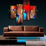 Large Grunge Rustic World Map Wall Art Painting Bedroom 4 Pieces Canvas Print