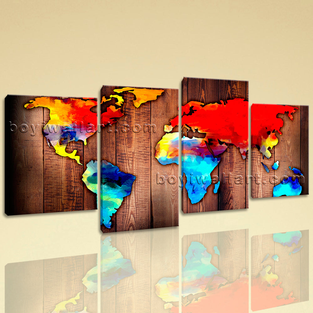 Large Grunge Rustic World Map Print Contemporary Wall Art Living Room Prints