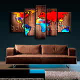 Extra Large Grunge Rustic World Map Picture Wall Art Canvas Print