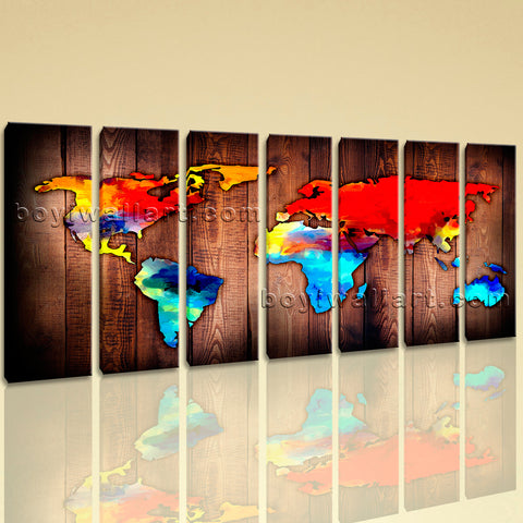 Extra Large Grunge Rustic World Map Painting On Canvas 7 Pieces Prints
