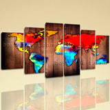 Extra Large Grunge Rustic World Map Print Contemporary Home Decor Art