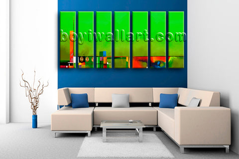 Extra Large Colorfulness Map Print Contemporary Wall Decor 7 Panels Art