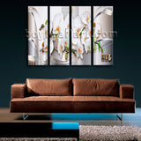Large Abstract Floral Orchid Flower Painting Modern Wall Decor Four Pieces Print