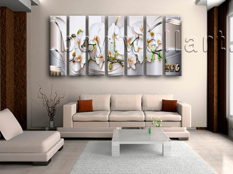 Extra Large Abstract Floral Orchid Flower Painting Modern Canvas Art Print
