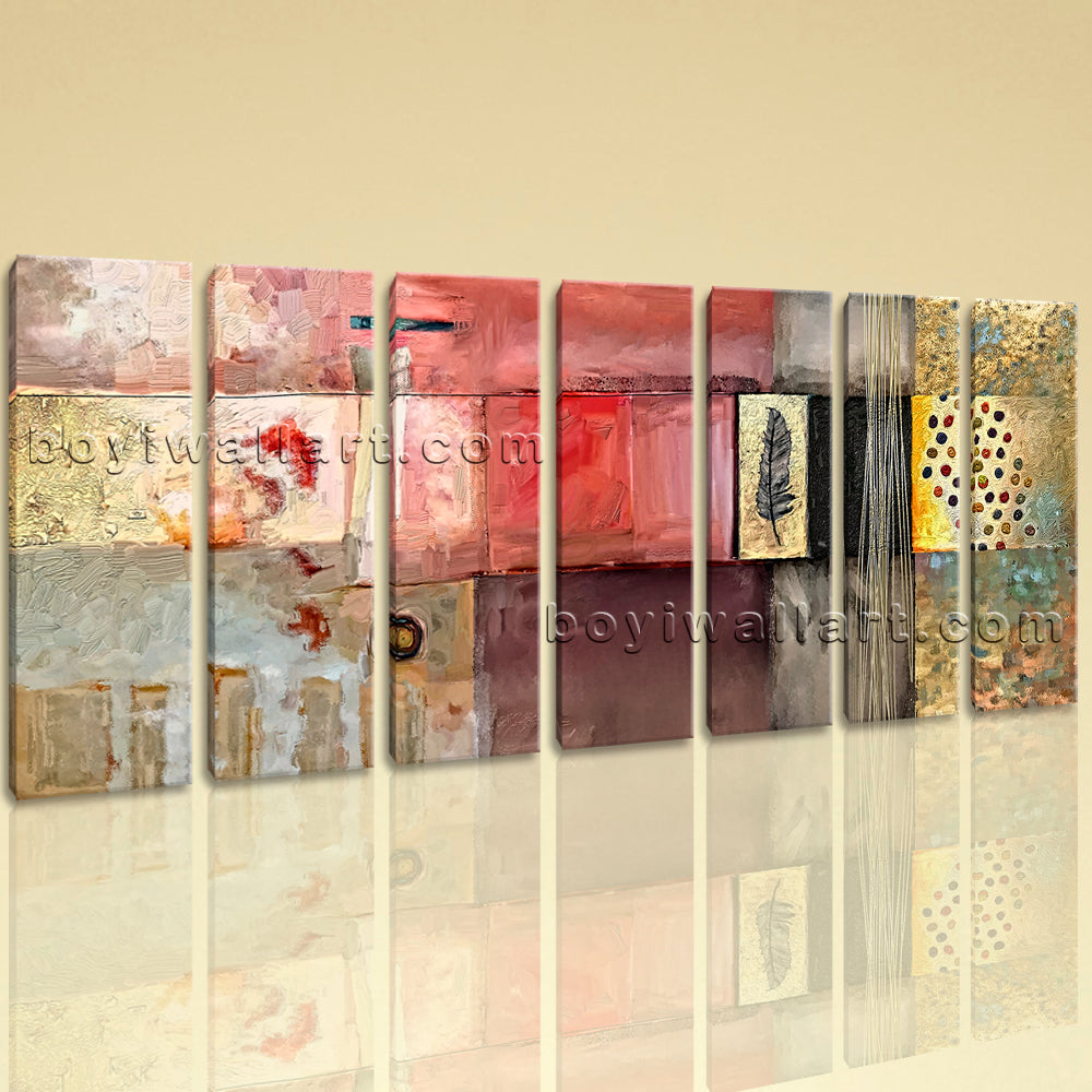 Extra Large Abstract Wall Art Canvas Decor Living Room Seven Panels Print