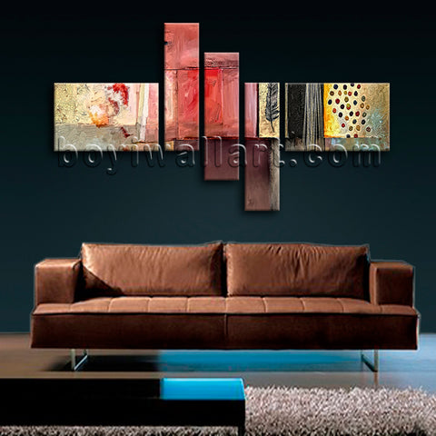 Huge Abstract Wall Art Contemporary Painting Five Pieces Canvas Print