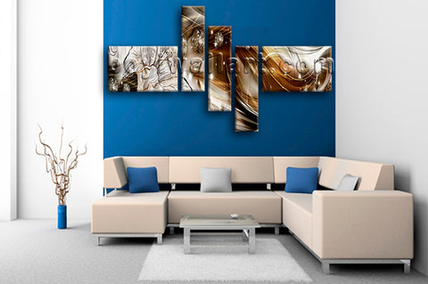 Huge Modern Abstract Wall Art Hd Print Oil Painting Five Pieces Prints
