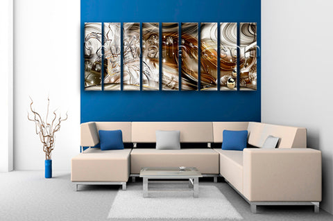 Huge Modern Abstract Wall Art Home Decor Living Room Nine Pieces Print