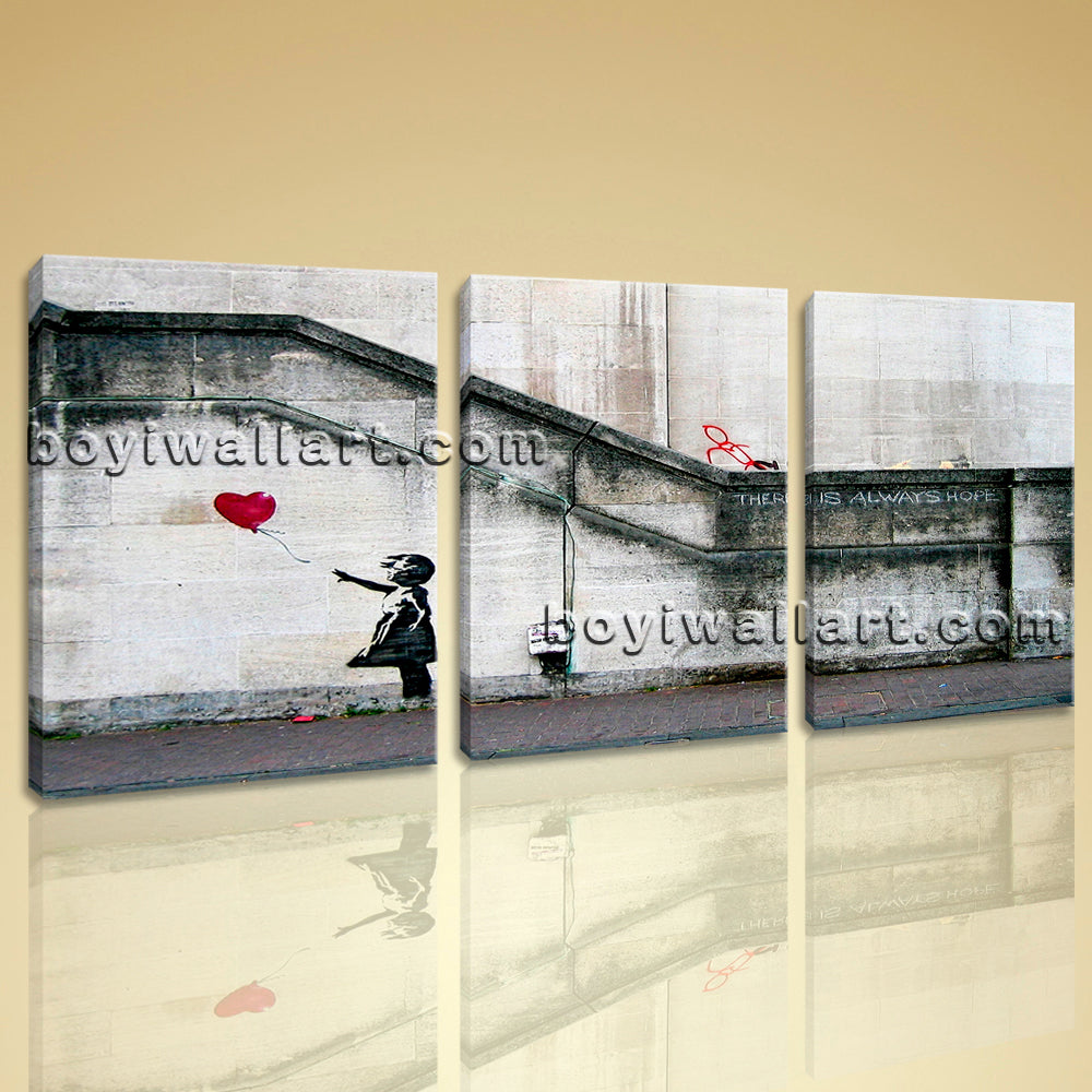 Large Banksy Girl With Balloon Abstract Wall Art Oil Painting Prints