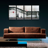 Large Banksy Girl With Balloon Abstract Hd Print Wall Decor 4 Panels Prints