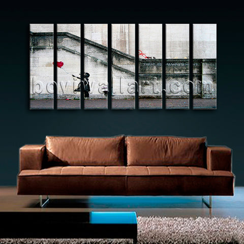 Extra Large Banksy Girl With Balloon Abstract Picture Wall Art 7 Panels Prints