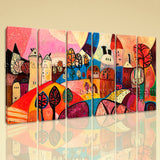 Large Abstract Landscape Painting Contemporary Canvas Art 6 Pieces Print
