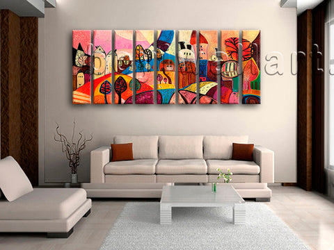 Huge Abstract Landscape Wall Art Contemporary Canvas Living Room 9 Pieces Print