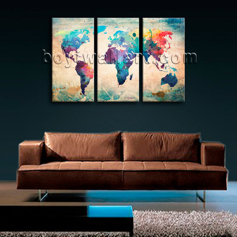Large Retro World Map Wall Decor Contemporary Canvas Art Three Pieces Print