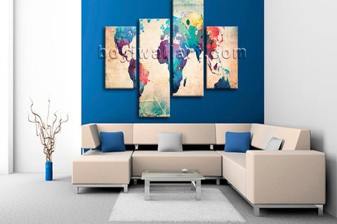 Large Retro World Map Canvas Art Contemporary Home Decor Four Panels Print