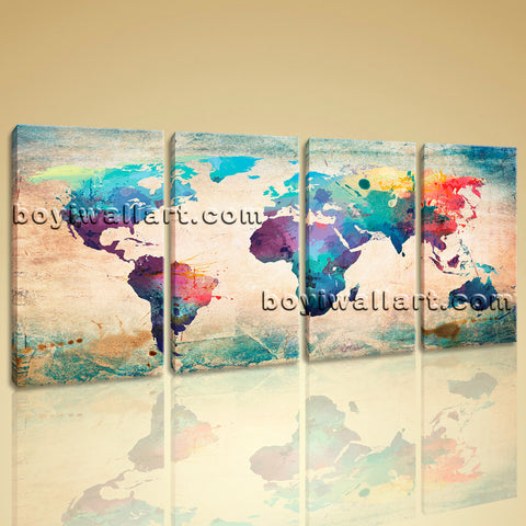 Large Retro World Map Canvas Art Contemporary Painting Bedroom 4 Panels Prints