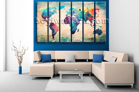 Large Retro World Map Picture Contemporary Wall Art Living Room 6 Panels Prints