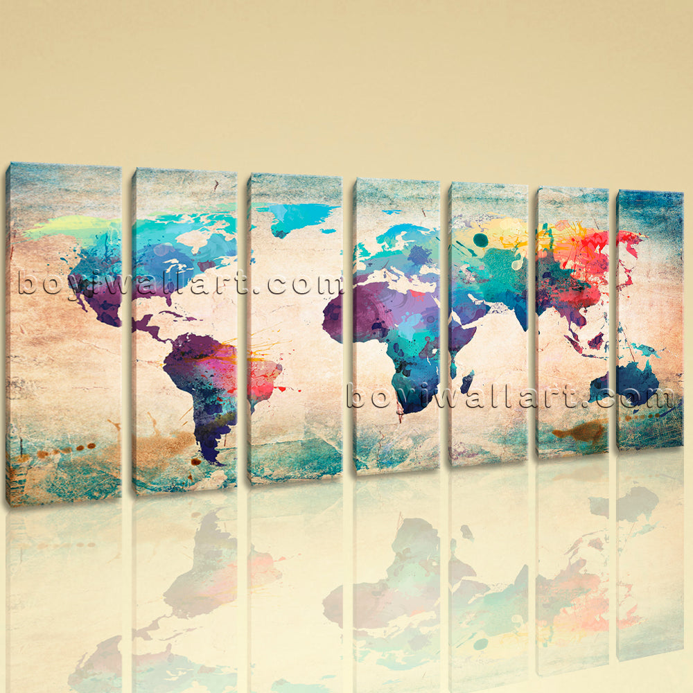 Extra Large Retro World Map Painting Wall Art Living Room 7 Panels Canvas Print