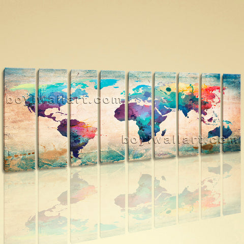 Huge Retro World Map Picture Wall Decor Living Room Nine Pieces Canvas Print