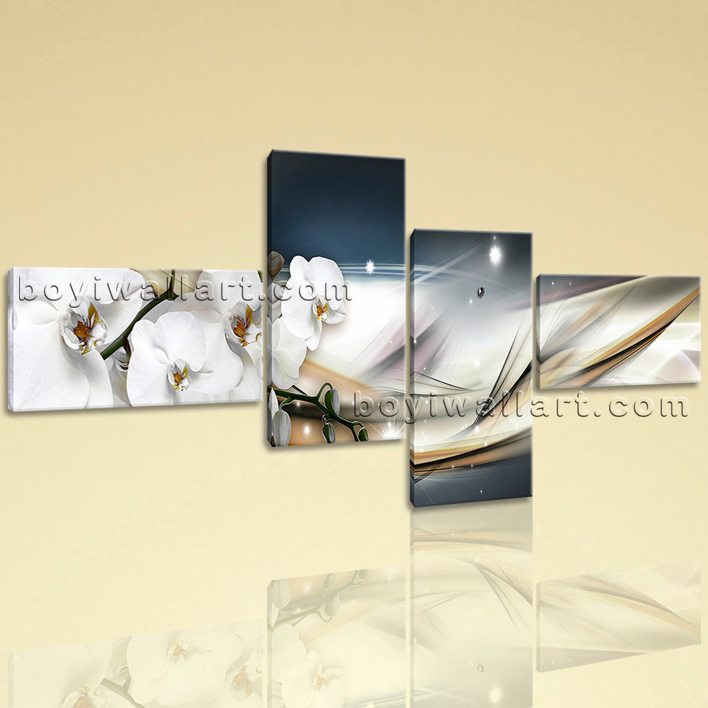 Extra Large Modern Abstract Floral Orchid Flower Wall Decor Home 4 Panels Prints