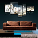 Extra Large Modern Abstract Floral Orchid Flower Painting 5 Pieces Canvas Print