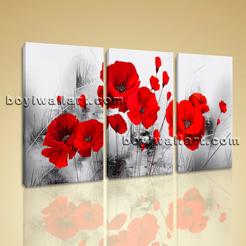 Large Abstract Poppy Flowers Painting Oil Bedroom Three Pieces Canvas Print
