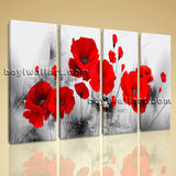 Large Abstract Poppy Flowers Wall Decor Painting Living Room 4 Panels Prints