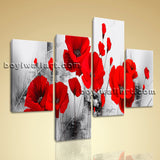 Large Abstract Poppy Flowers Wall Art Contemporary Bedroom 4 Pieces Canvas Print