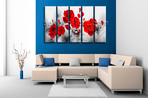 Large Abstract Poppy Flowers Canvas Art Wall Dining Room Five Panels Print