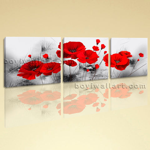 Large Abstract Poppy Flowers Picture Painting On Canvas Triptych Panels Print