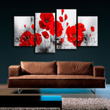 Large Abstract Poppy Flowers Painting Home Decor Living Room 4 Panels Prints