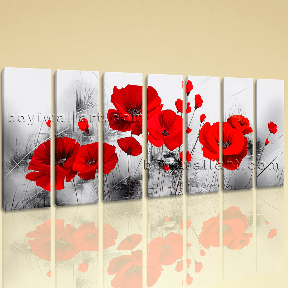 Extra Large Abstract Poppy Flowers Hd Print Wall Art Living Room Seven Pieces
