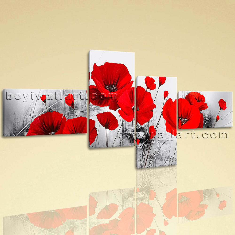 Extra Large Abstract Poppy Flowers Wall Decor Contemporary Home Art Print