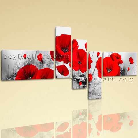 Huge Abstract Poppy Flowers Picture Oil Painting Pentaptych Pieces Prints