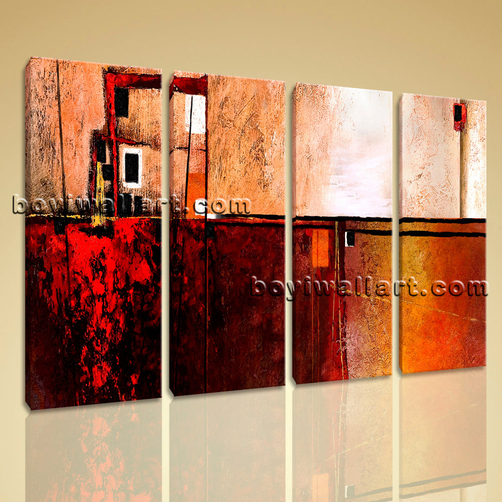Large Abstract Painting Wall Art Home Decor Living Room Four Pieces Canvas Print