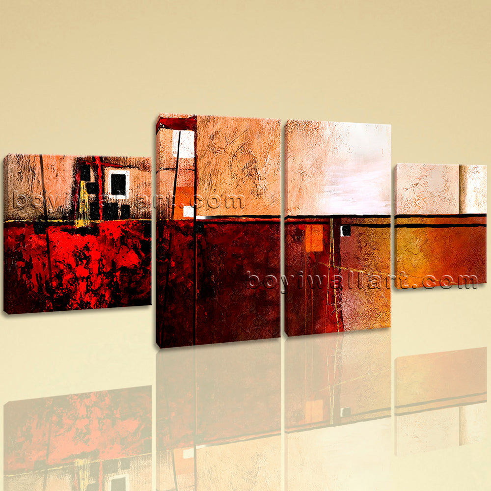 Large Abstract Painting Hd Print Canvas Art Dining Room Four Panels Prints