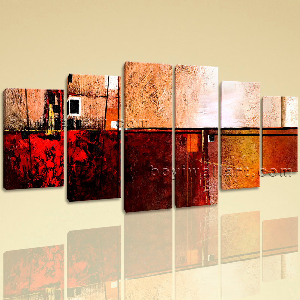 Extra Large Abstract Painting Hd Print Canvas Art Dining Room Six Panels Prints