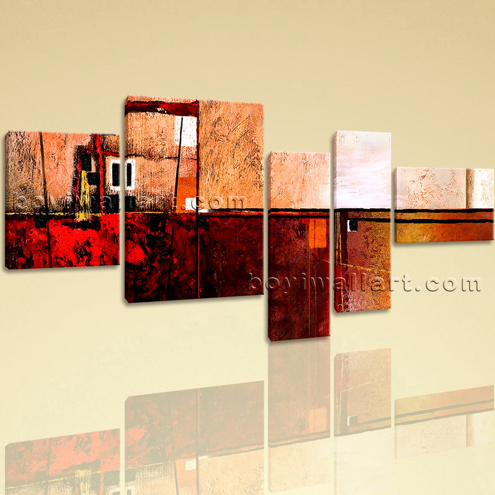 Extra Large Abstract Painting Hd Print Wall Art Bedroom Five Panels Canvas